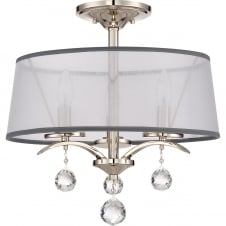 modern dual mount ceiling light in silver with organza shade