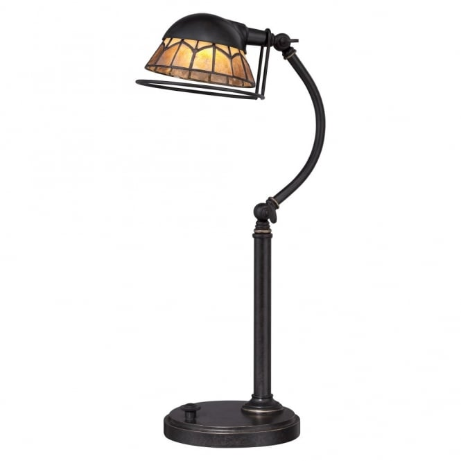 WHITNEY vintage design LED desk lamp in dark bronze with Mica natural stone shade