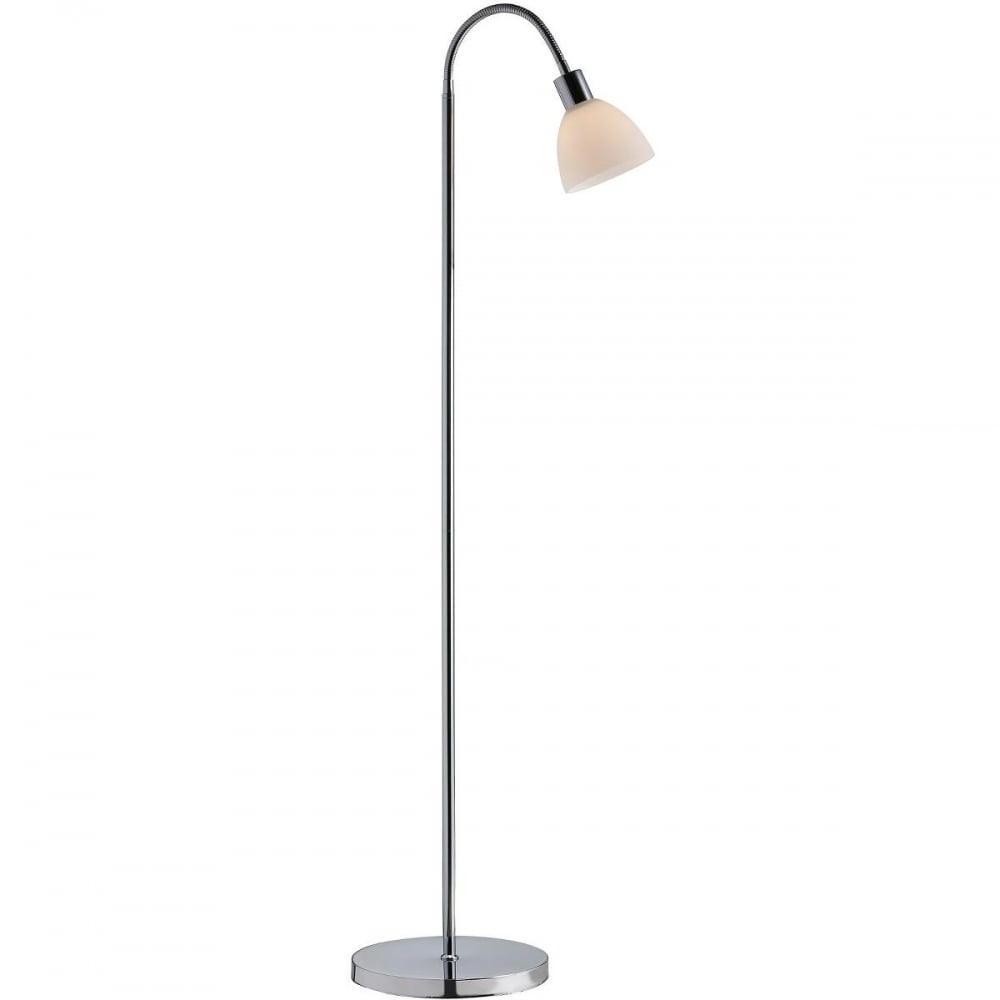 Contemporary polished chrome floor lamp with flexible neck ray contemporary chrome floor lamp with opal glass shade aloadofball Image collections