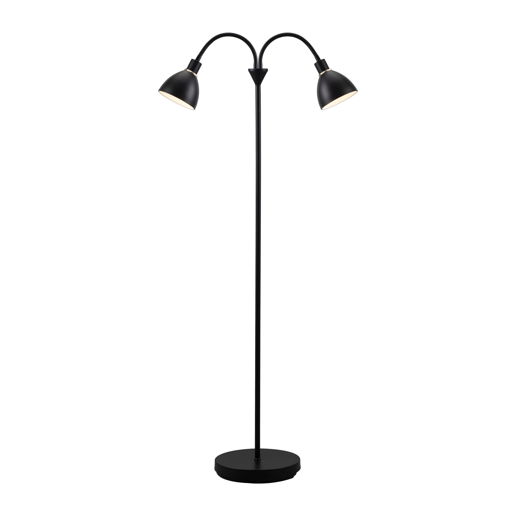 Contemporary Twin Head Floor Lamp In Black Finish