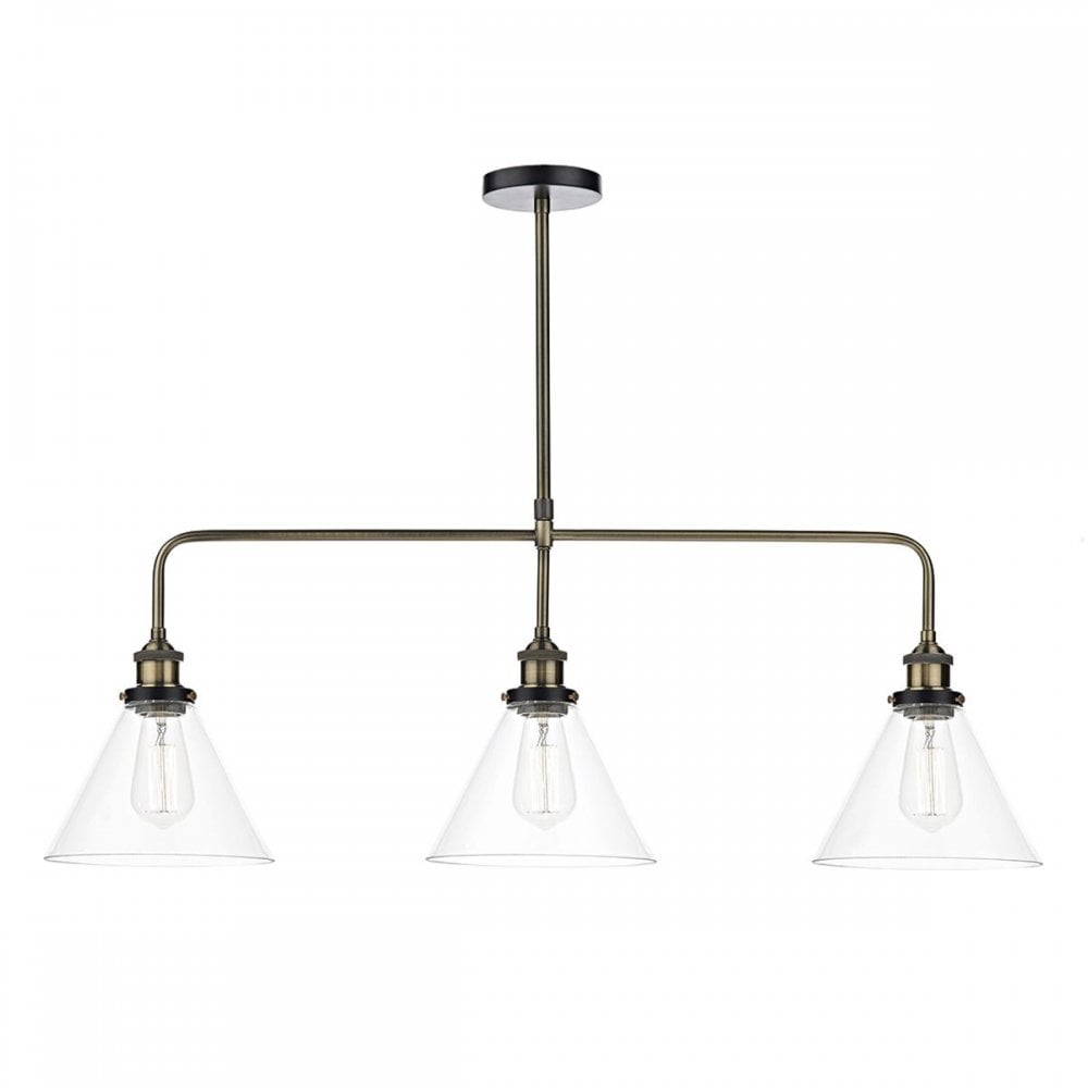 Ray vintage antique brass 3lt ceiling bar pendant with clear tapered glass shades