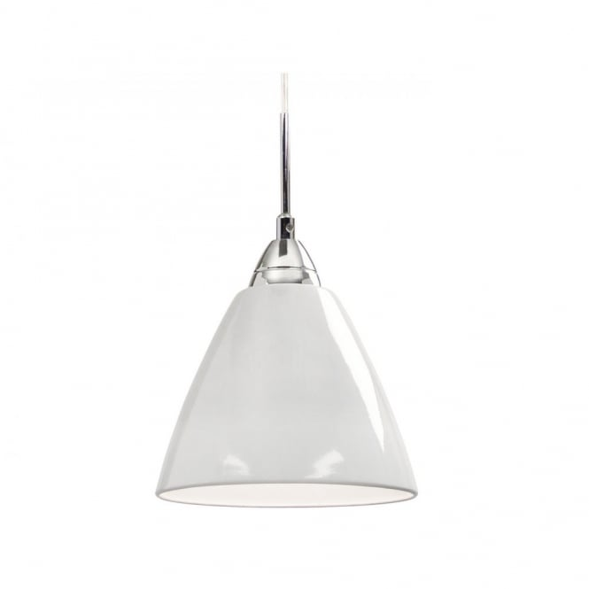 Nordlux Read Large Gloss White Pendant Light for High Ceilings