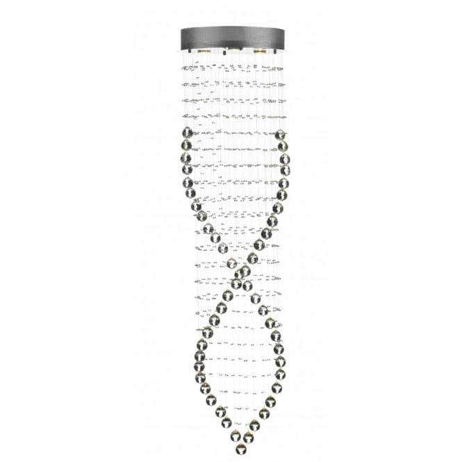 Rebecca Large Circular Chrome Crystal Light On Wires
