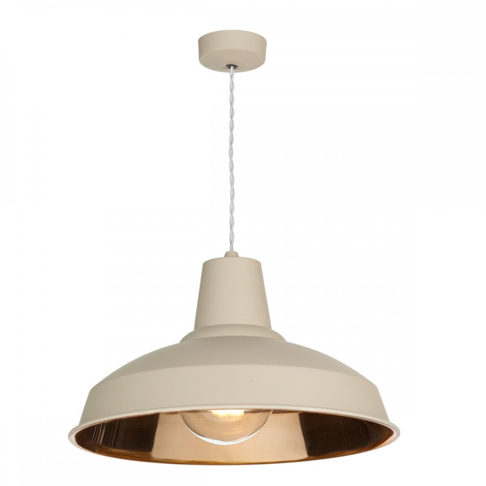 Retro stlye ceiling hanging pendant lamp cream with copper reflective inside