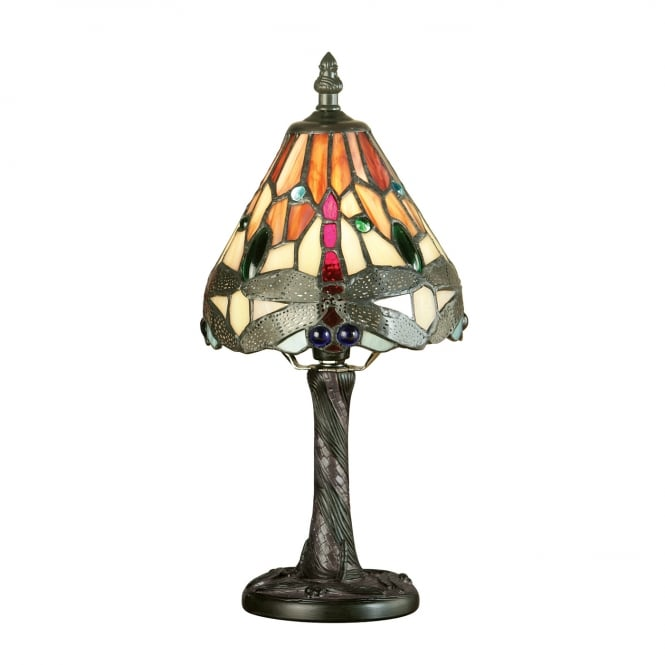 RED DRAGONFLY mini Tiffany glass table lamp