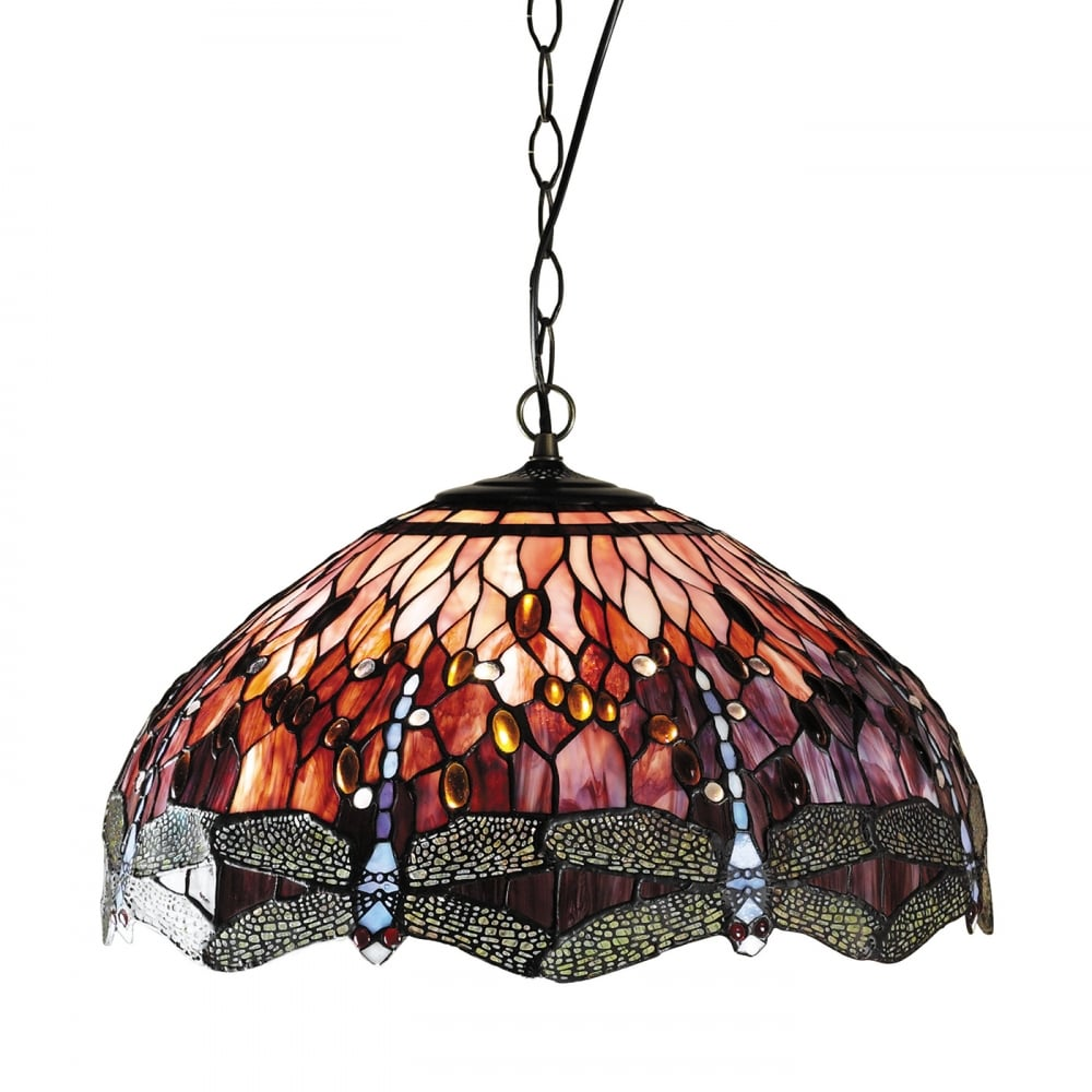 Red dragonfly tiffany hanging ceiling pendant light