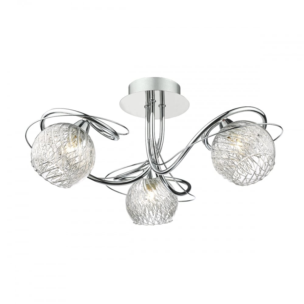 Decorative 3 light semi flush chrome ceiling light with glass shades chrome 3 light ceiling light with glass shades aloadofball Image collections