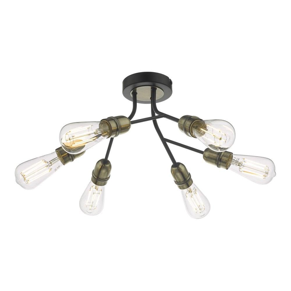 Industrial 6 Light Semi Flush Ceiling Light In Black And Brass