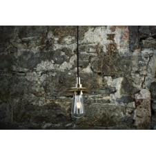 bathroom pendant in polished brass with clear glass