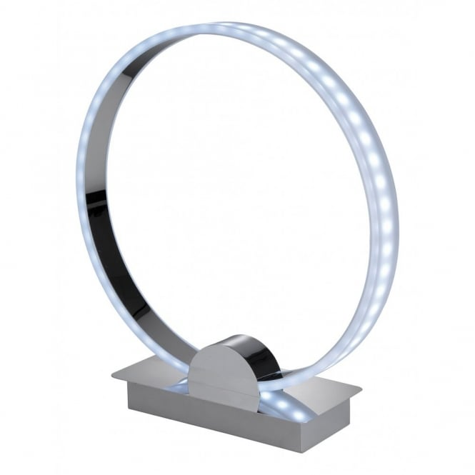Contemporary Chrome Ring Led Table Lamp With Remote Colour Changer
