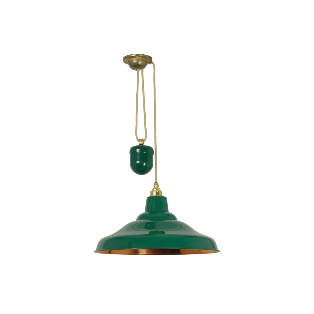 Green rise and fall pendant with copper inner lighting company green and copper rise and fall pendant light aloadofball Choice Image