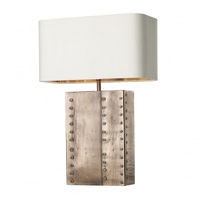 Table Lamp Rectangle Copper Riveted Base Complete With Silk Shade