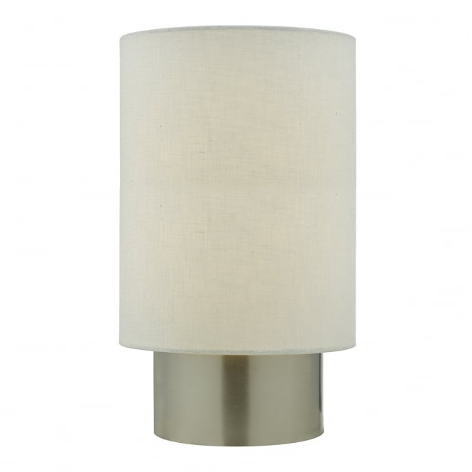 ROBYN contemporary satin chrome touch lamp with white shade