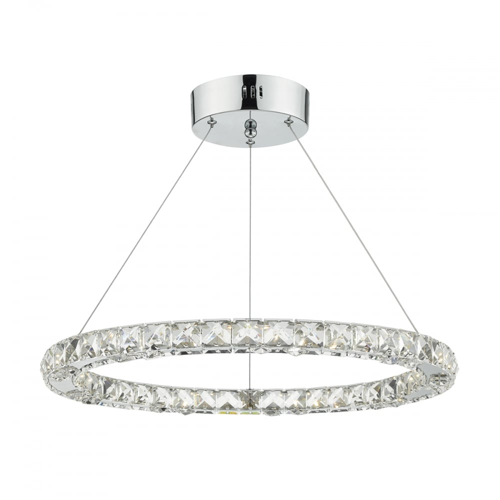 Modern Decorative Round Led Ceiling Pendant In Chrome And Crystal