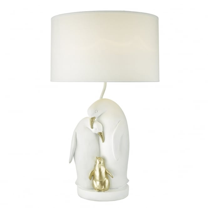 ROOKERY white and gold penguin table lamp with shade