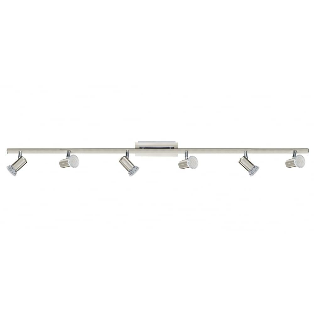 contemporary satin nickel 6 light led spotlight bar. Black Bedroom Furniture Sets. Home Design Ideas