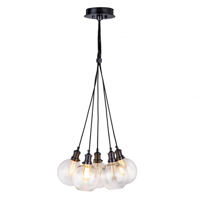 ROUEN 5 light vintage cluster pendant in black chrome with clear glasses