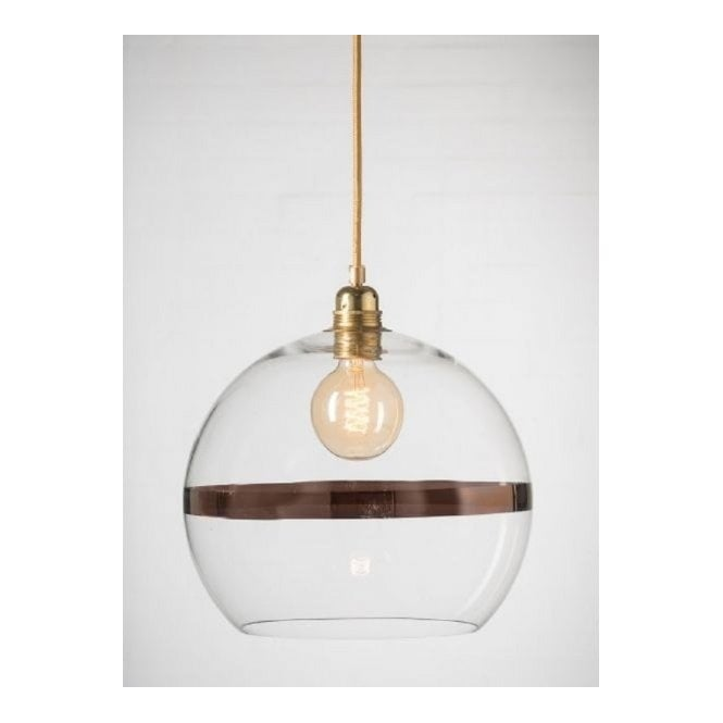 b990ac19aa49 Clear Glass Globe Ceiling Pendant with Copper Metallic Ring Decor.