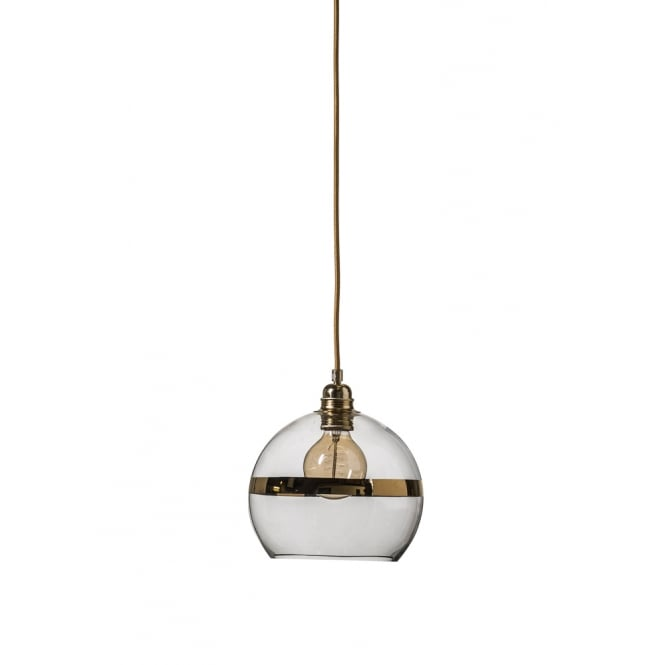 ROWAN clear glass ceiling pendant light with gold stripe (small)