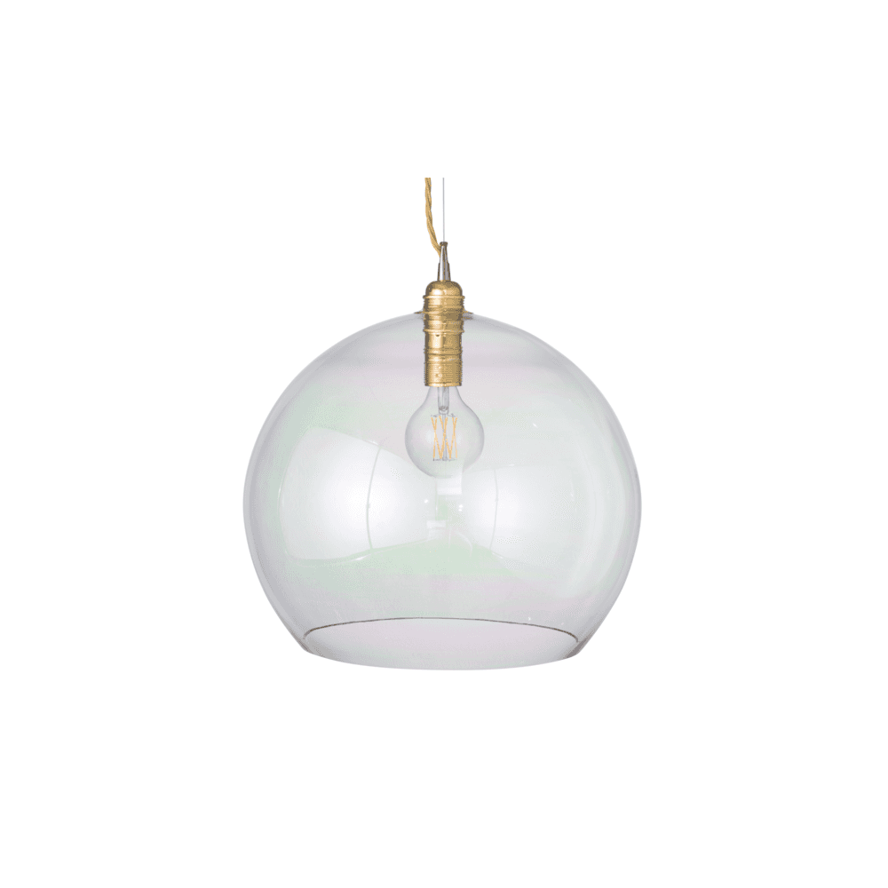 Rowan Large Blown Iridescent Glass Ceiling Pendant Light With Gold Suspension