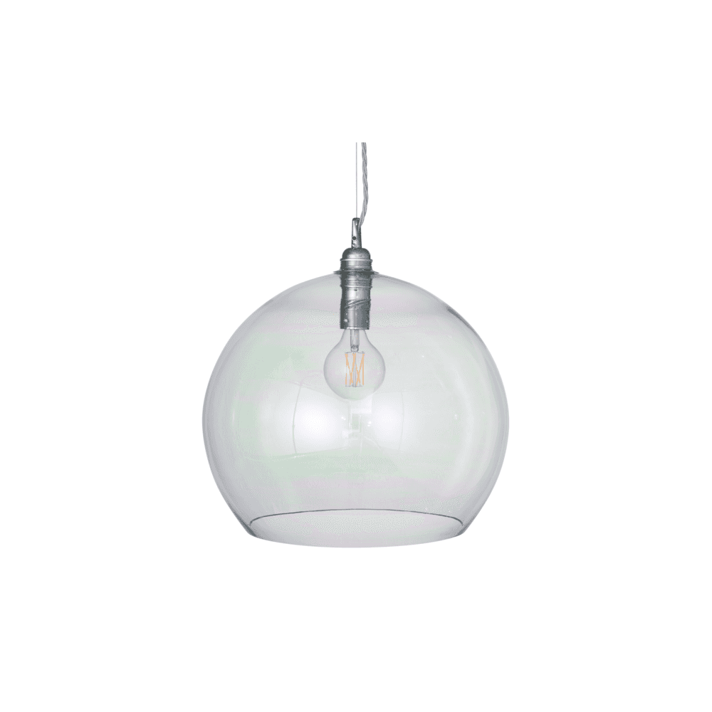Rowan Large Blown Iridescent Glass Ceiling Pendant Light With Silver Suspension