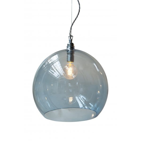 Glass Ceiling Lights: Blue Large Blown Glass Ceiling Pendant With Silver Braided