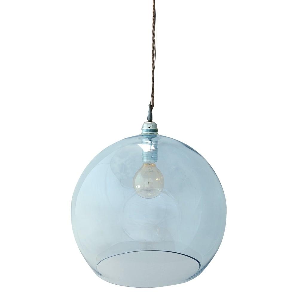 Rowan large transparent topaz blue glass ceiling pendant light