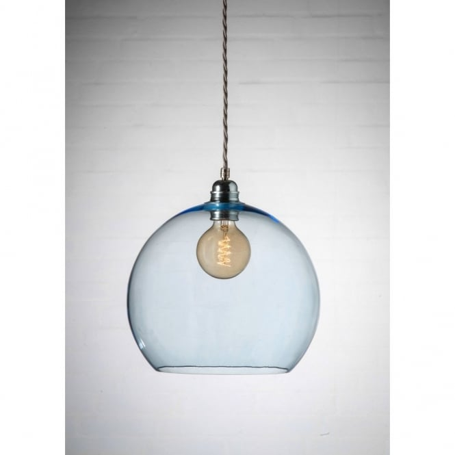 2bec4ce4e304 ... ROWAN medium blue glass ceiling pendant light. Tap image to zoom.  mouth-blown glass ceiling pendant with silver cable