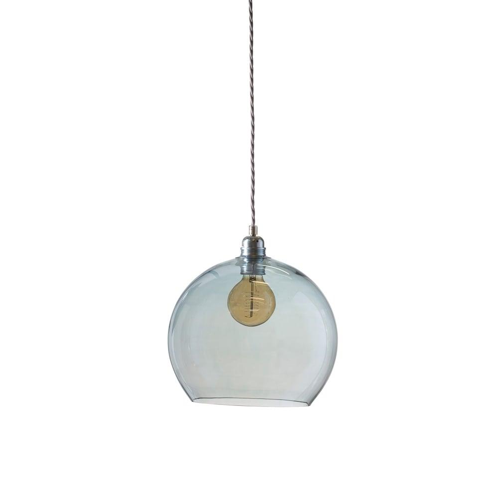 b41f6bb33944 Copenhagen Glass Collection ROWAN medium transparent topaz blue glass  ceiling pendant light