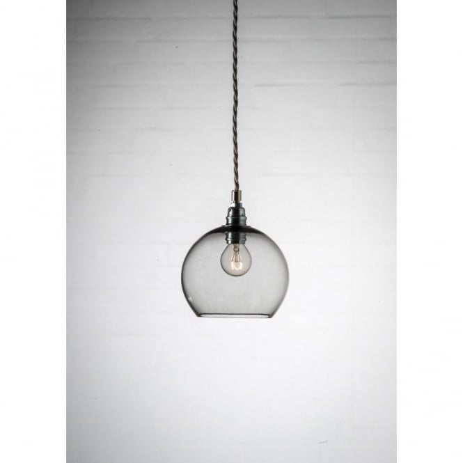 ROWAN mini smokey grey glass ceiling pendant light