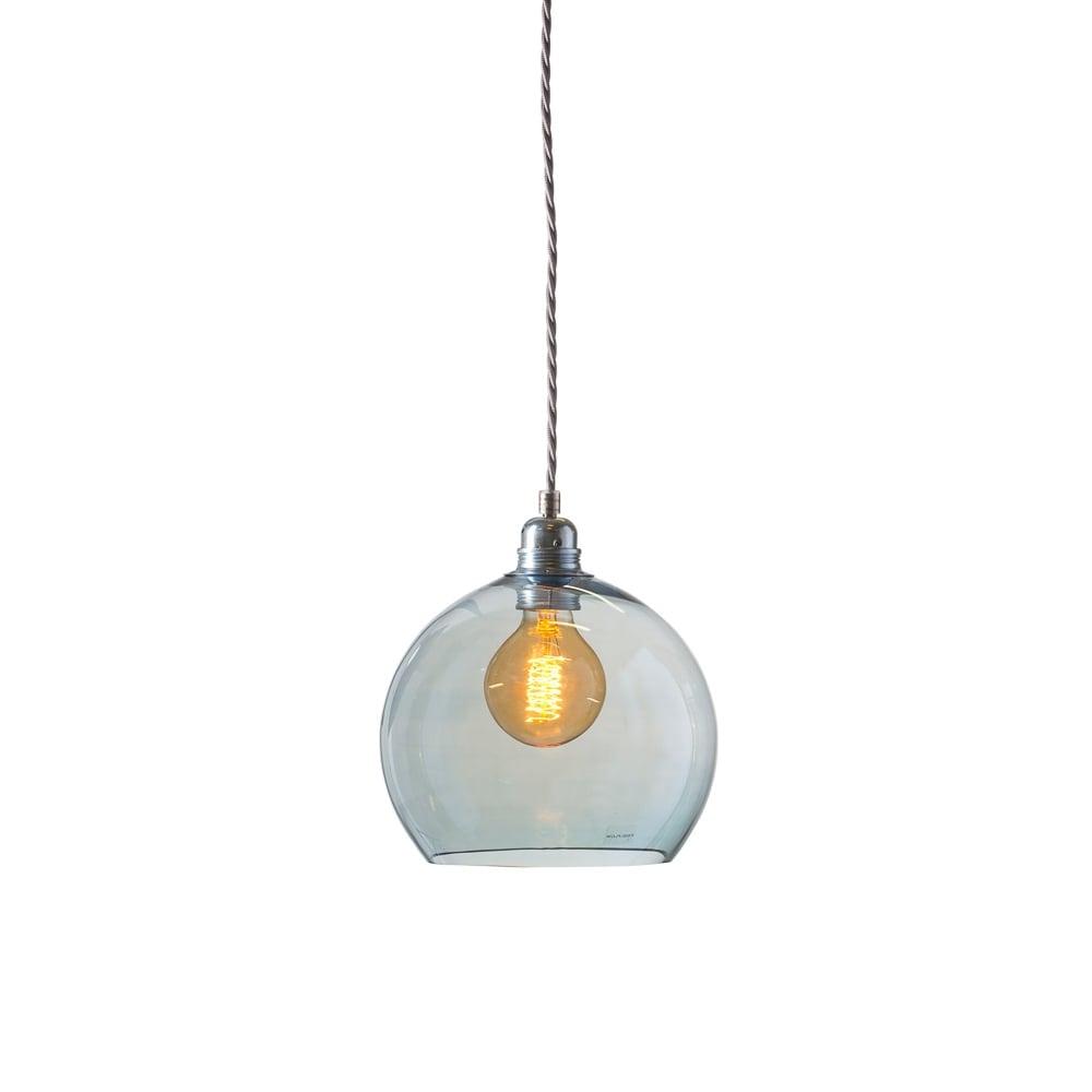 Rowan small transparent topaz blue glass ceiling pendant light
