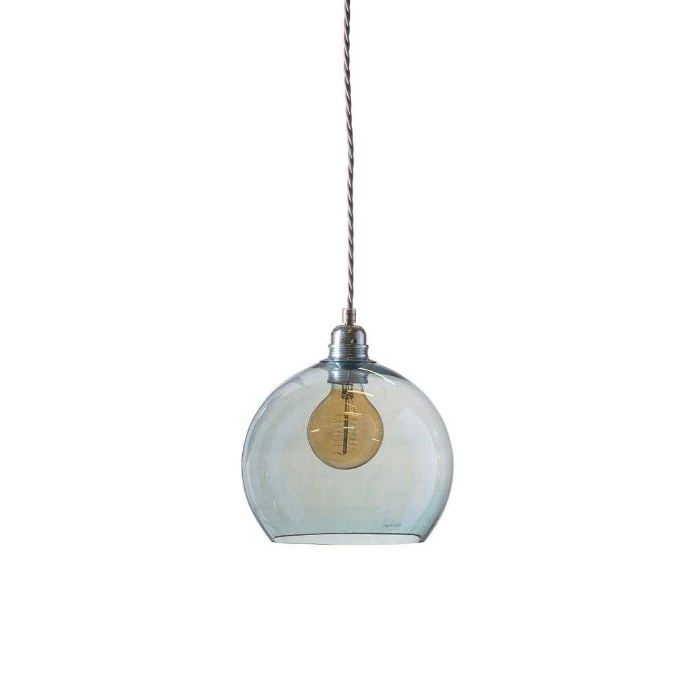 fa8f2f8f8b0e Copenhagen Glass Collection ROWAN small transparent topaz blue glass  ceiling pendant light