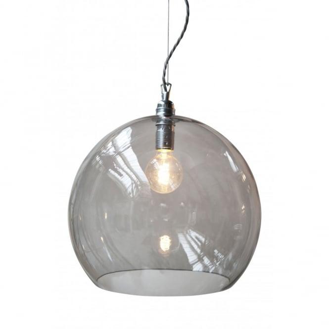 Smokey grey blown large glass ceiling pendant w silver braided cable rowan smokey grey glass ceiling pendant light large size aloadofball Images