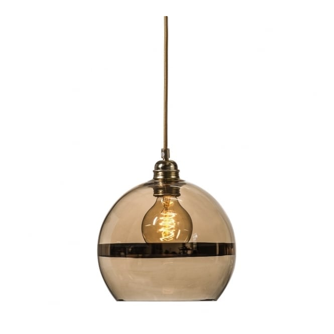 ROWAN transparent gold glass ceiling pendant with gold stripe (small)
