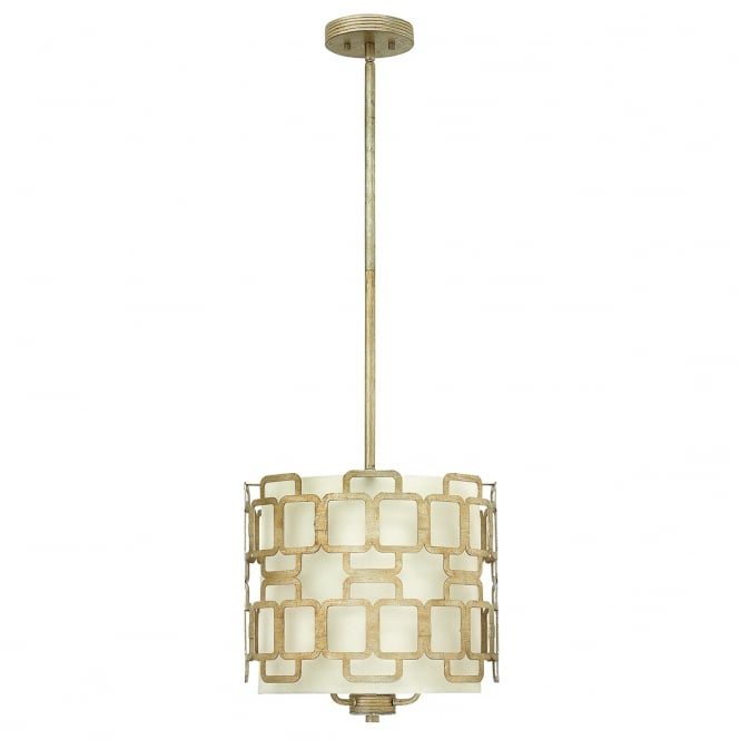 SABINA decorative geometric 3 light pendant in silver leaf finish