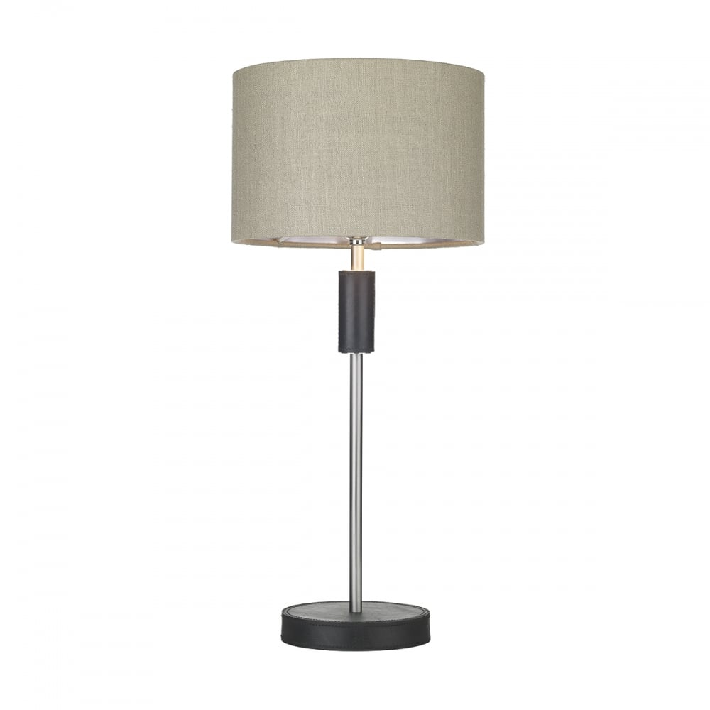 Black leather effect and brushed steel table lamp with linen shade black leather effect and brushed steel table lamp with shade aloadofball Choice Image