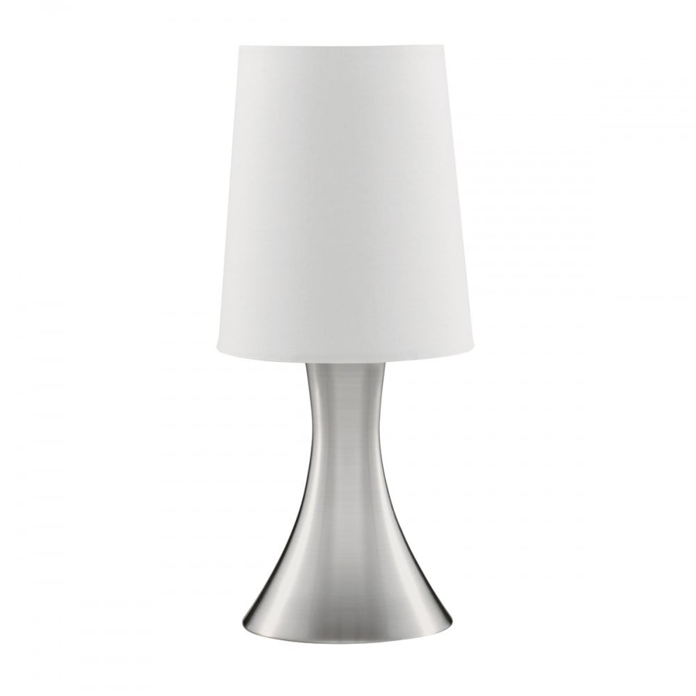 Satin Silver Tapered Touch Lamp With White Shade