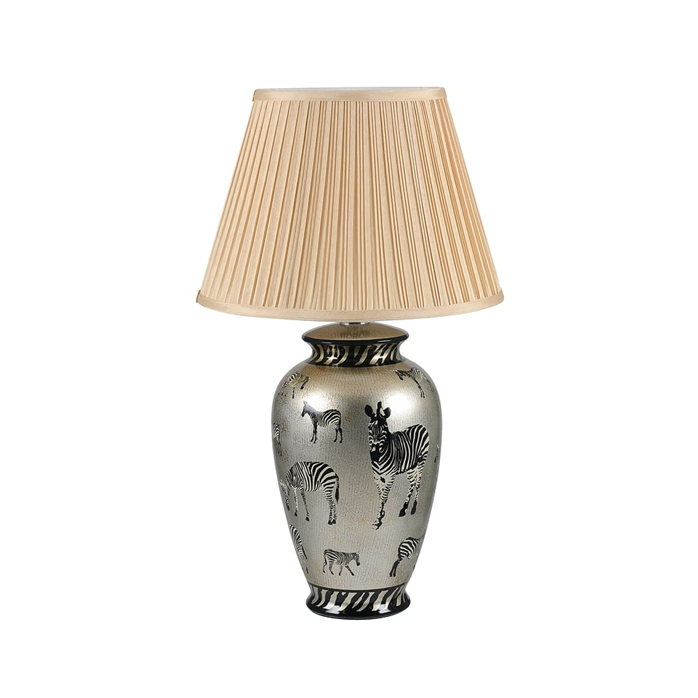 Traditional Ceramic Table Lamp With Zebra Print Detail And Shade