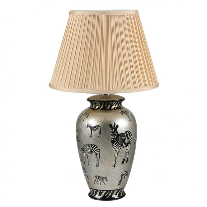 SAVANNAH gold ceramic table lamp with zebra pattern and shade