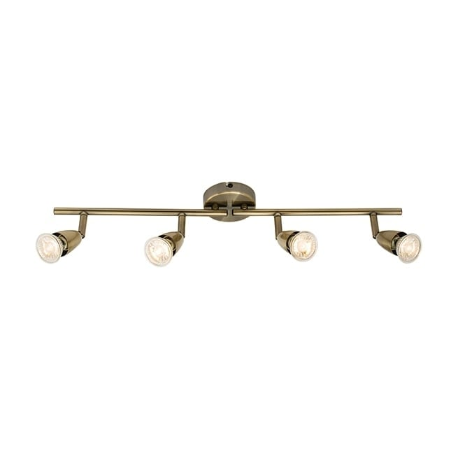AMALFI 4 light spotlight bar in antique brass