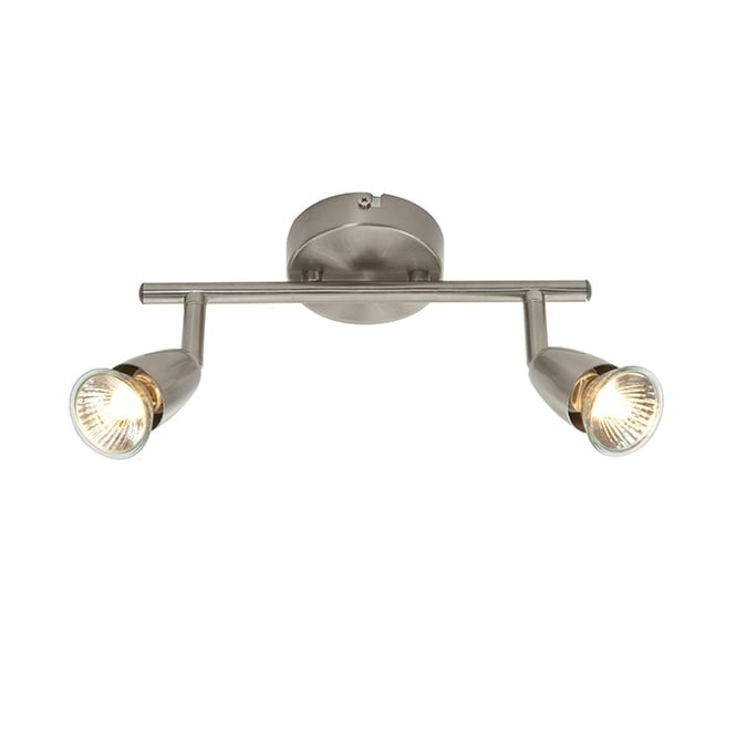 Saxby Lighting AMALFI modern 2 light spotlight bar in satin nickel