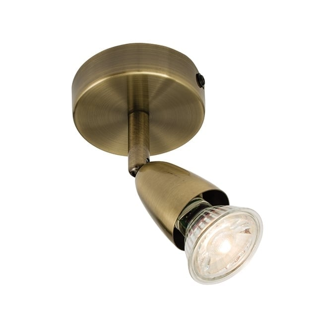Antique Brass Single Spotlight Adjustable Amp Dimmable