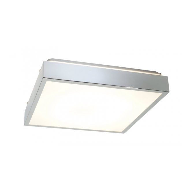 saxby lighting cubita square flush bathroom ceiling light in chrome