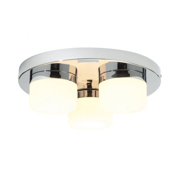 Modern Bathroom Ceiling Light In Chrome With Round White Glass Shades