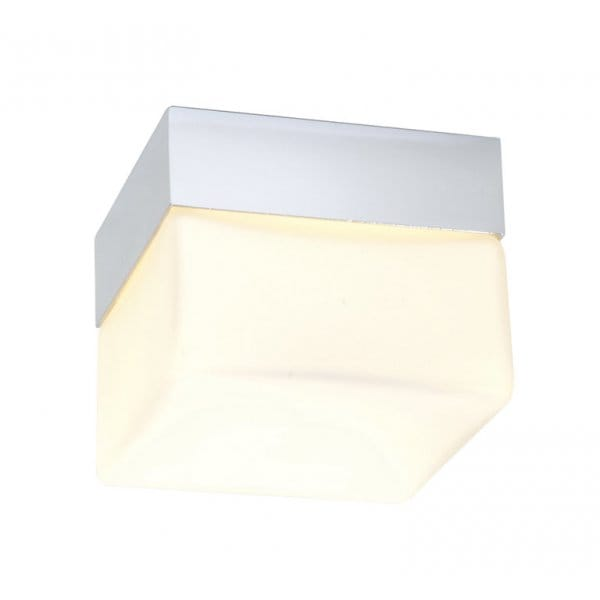 saxby lighting square flush bathroom ceiling light in chrome with