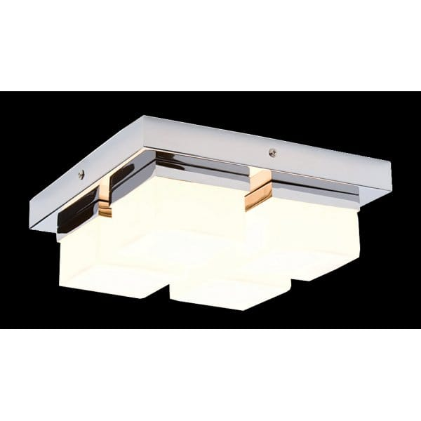 Modern Chrome Bathroom Ceiling Light, 4 Light Flush Square Light IP44