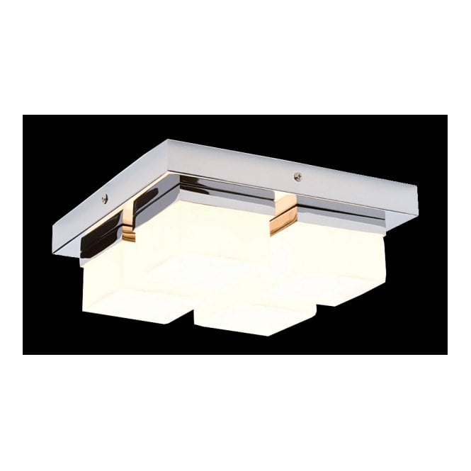 SQUARE Flush Bathroom Ceiling Light In Chrome With White Glass Shades 4