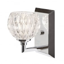 contemporary low energy chrome bathroom wall light with glass shade