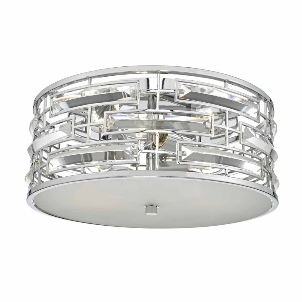 Decorative chrome and crystal flush ceiling light modern chrome and crystal flush fit ceiling light aloadofball Gallery