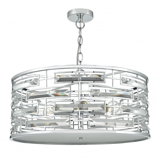 SEVILLE polished chrome and crystal ceiling pendant with diffuser